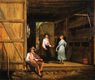 На картине «Сельские танцы» (1831) американский художник Вильям Сидней Маунт изобразил типичную сцену сельского отдыха: танцы под фиддл-музыку