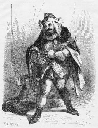 Шут Трибуле в драме Гюго «Король забавляется». Гравюра. Жан-Адольф Босе (1818—1875) и Жорж Руже (1781—1869)