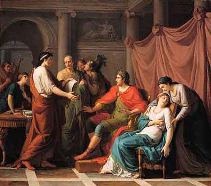 Вергилий читает Энеиду Августу и Октавии. Картина Ж. Ж. Тайяссона, 1787